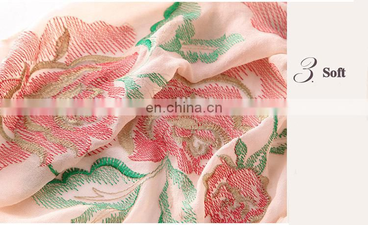 100% Silk Feeling Polyester Branded Fashion Luxury Scarves Cheap Scarf Embroidery Hijab Nice Shawl