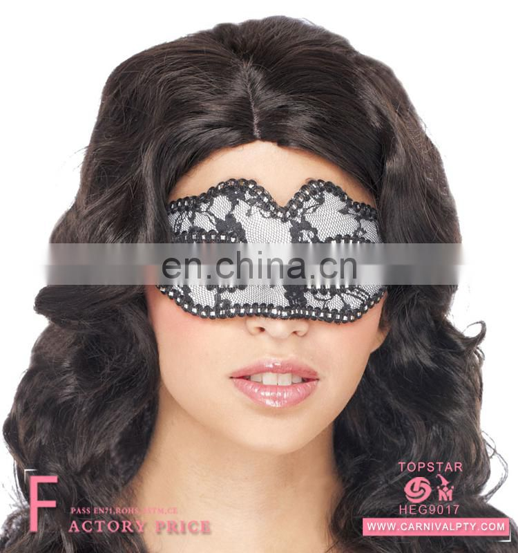 Promotion Halloween plastic black and white lace head mask