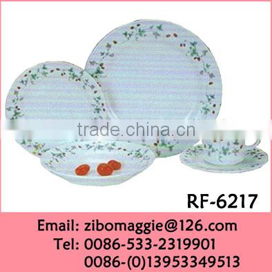 20pcs Daily Used Porcelain Antique Dinnerware with Custom Print for Hotel