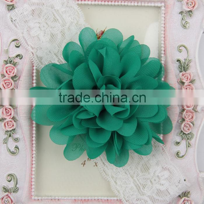 2015 Baby girls hair accessories headbands with big chiffon flower