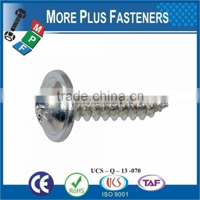 Made in Taiwan DIN 968 Cross Recessed Pan Head with Washer Self Tapping Screw Phillips or Pozi Carbon Steel or Stainless Steel