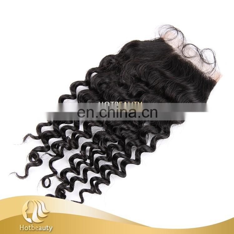 "free part design deep wave closure 4""x4"" lace size premium virgin hair"