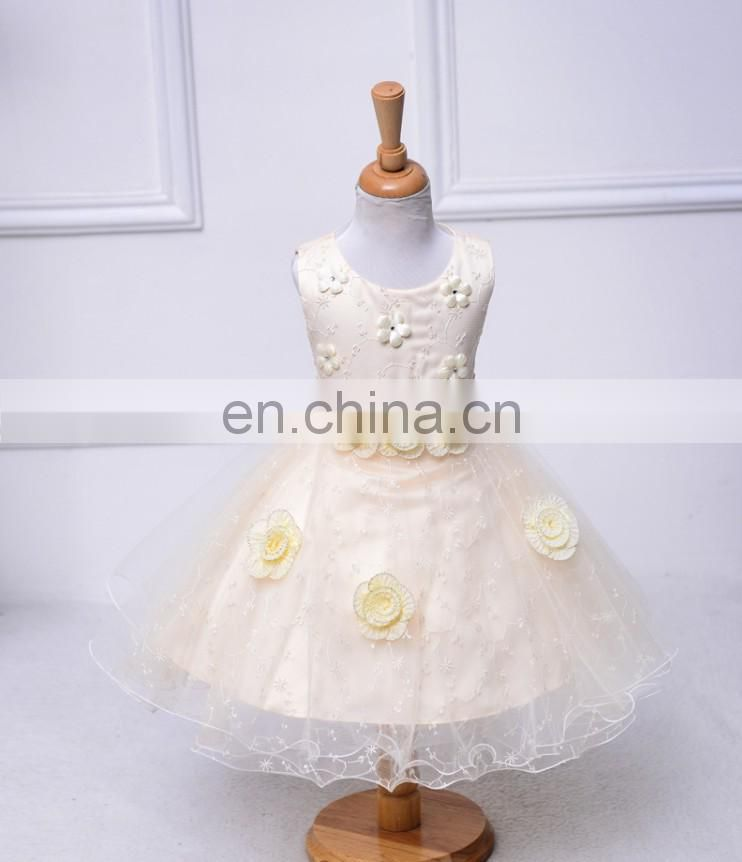 Champagne Flower Baby Girl Dress Sleeveless Rustic Petal Puffy Frock Christening Wear Princess Costume