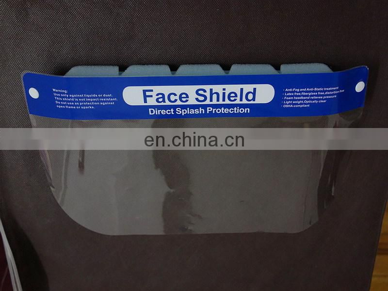 Splash protective Disposable face shield with anti-fogging film