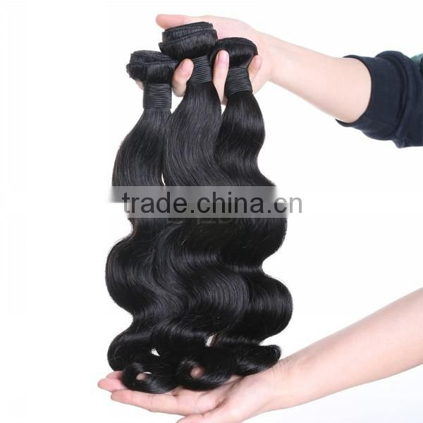 WJ001 Brazilian 100 unprocessed virgin body wave hair natural black