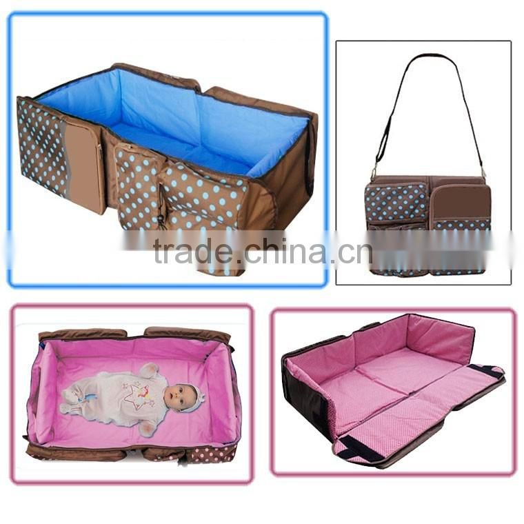 New hot design multi-function mummy bag 3 in 1 shoulder babay diaper bags baby travel cot
