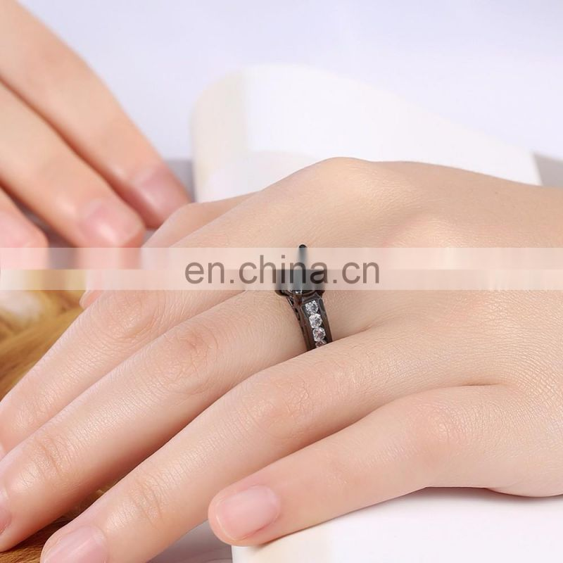 Latest Black Titanium Plated Gemstone Rings Designs for Women