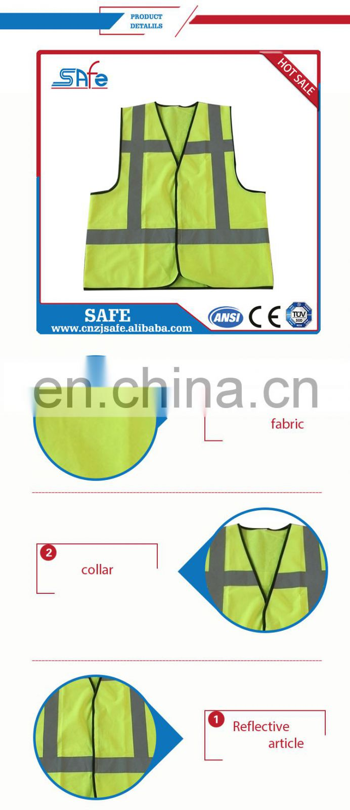 Lower factory price wholesale safety reflective high visibility CE vest for running
