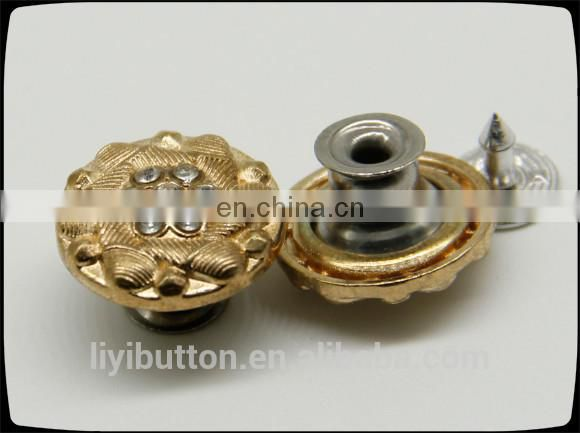 wholesales manufacturer metal coat button, removable shank metal diamond shaped button for jeans