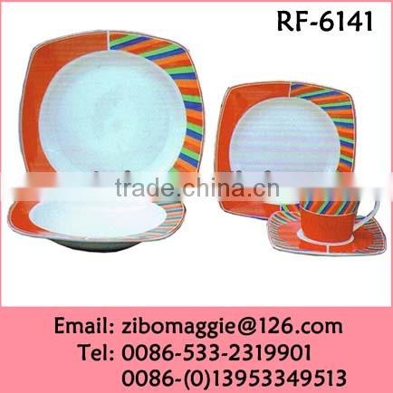 China Made Disposable Ceramic Sqaure Dinner Set Custom Dinnerware Wholesale