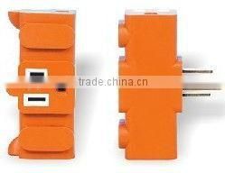 US 125V 15A 3-PRONG Triple NEMA 5-15R Plug adapter