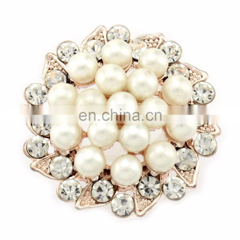 Graceful Alloy Rhinestone Button with pearl for Accessories clear with golden plating