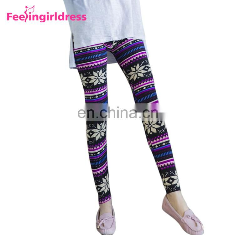Custom Sublimation Snowflake Women High Waist Wholesale Always Leggings 92 Polyester 8 Spandex
