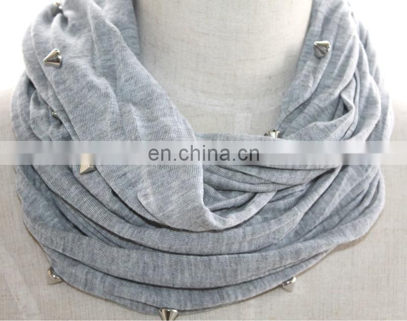 scarf jewelry caps KRP-001# solid color with rivet scarf jewelry