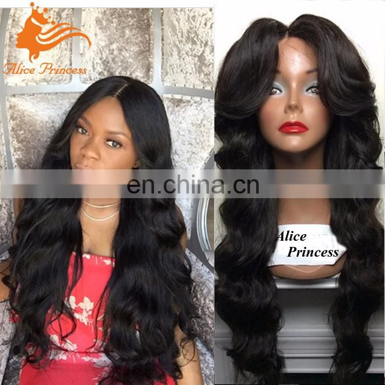 Aliexpress Human Hair Wigs Body Wave Middle Part Or Side Part Lace Front Wig Glueless Brazilian Hair Wig With Bangs