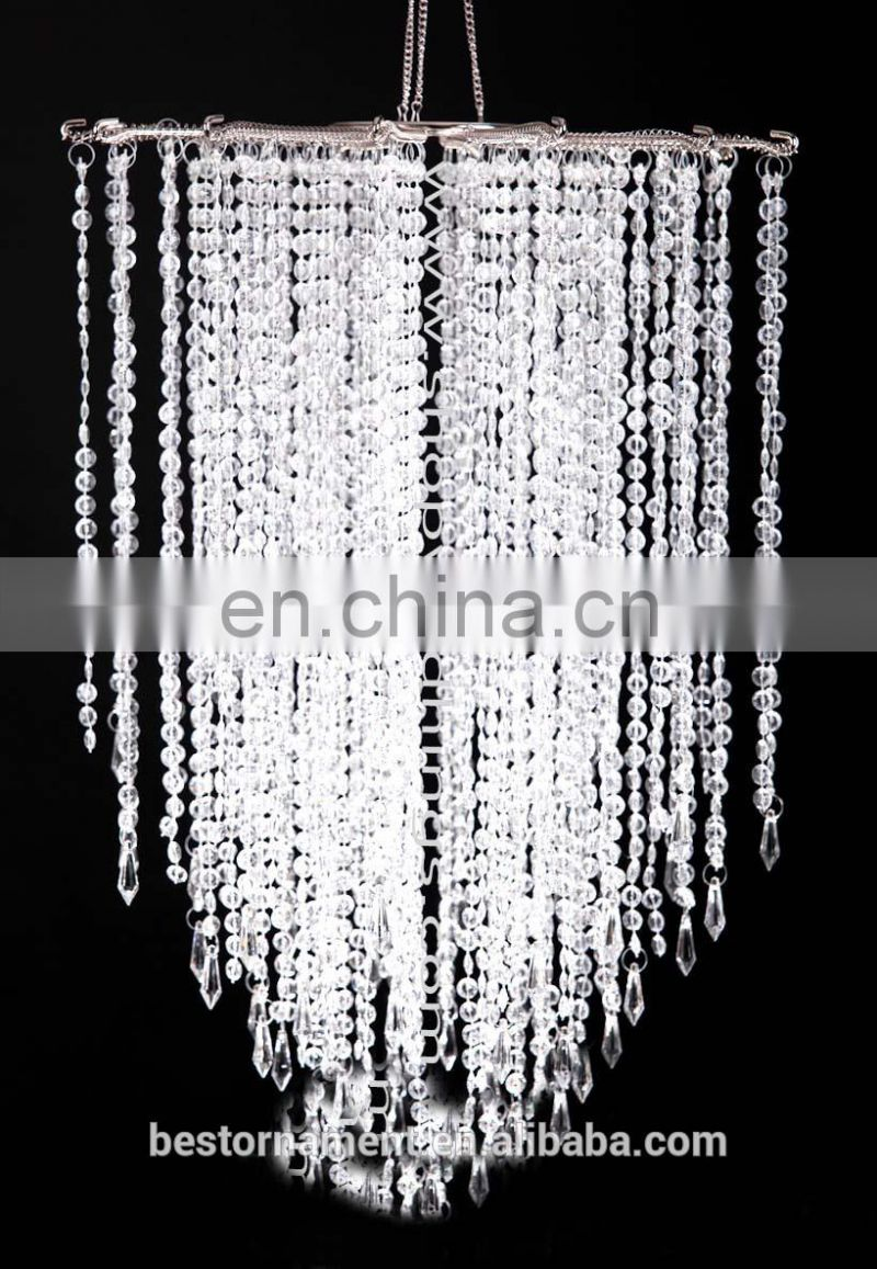Clear Non-Iridescent Beaded Chandelier