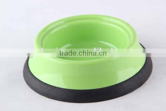 Plastic slip-resistant pet bowl with rubber bottom/ dog bowl
