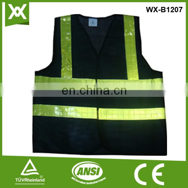 Factory made 100%polyester mesh /knit reflective tape work blue security safety vest