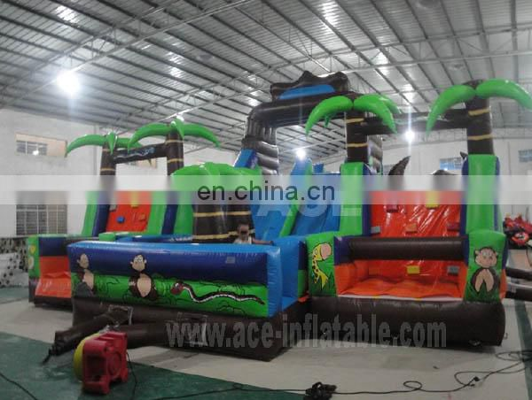 Inflatable Jungle obstacle course with slide for sale