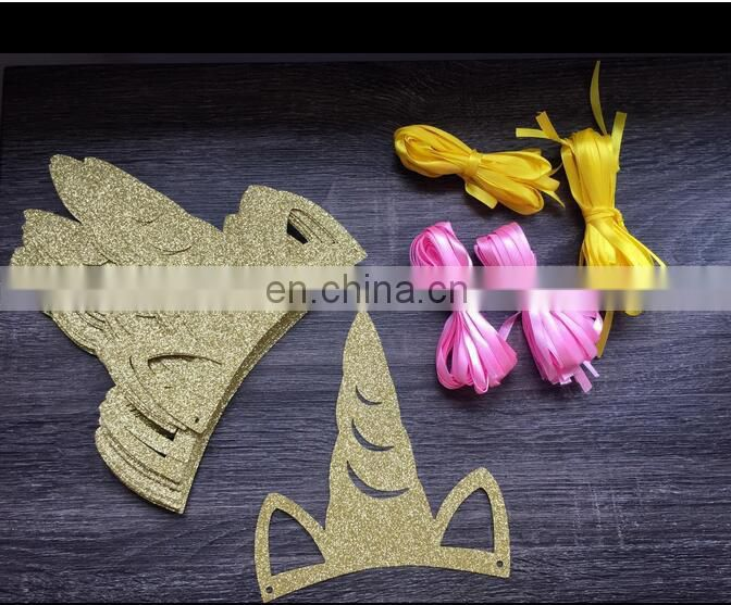 Unicorn Party Favors Party Supplies for Kids Birthday Party Glitter paper Gold Unicorn Headband