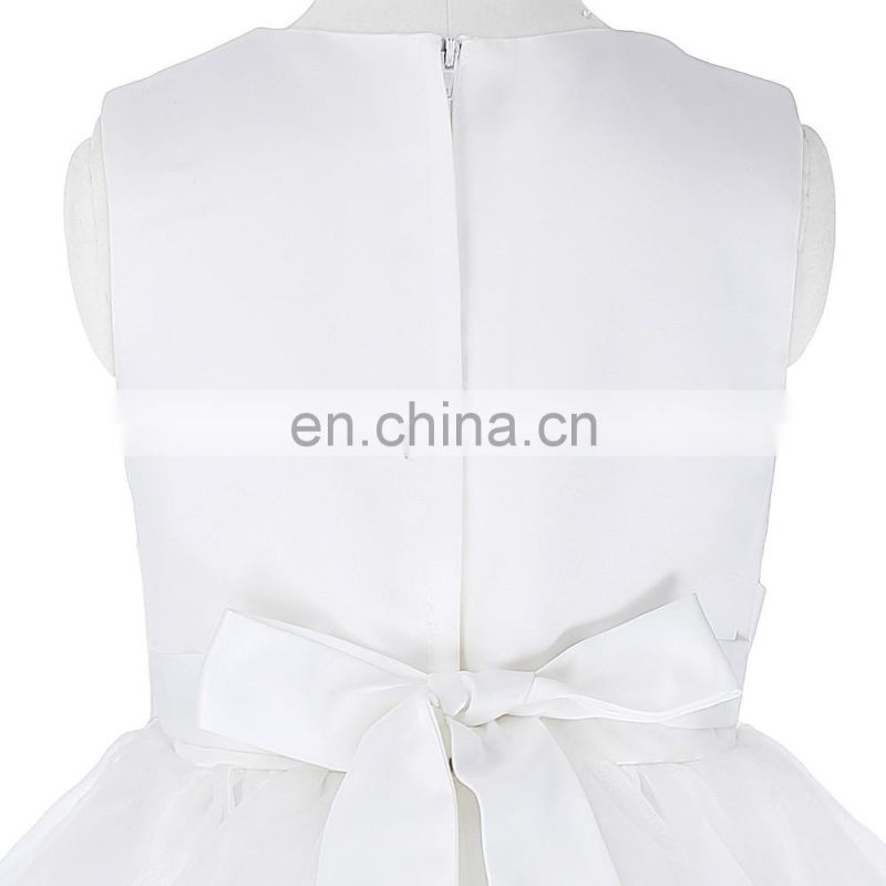 Grace Karin Sleeveless Flower Decorated Flower Girl Princess White Wedding Pageant Party Dress CL010417-1