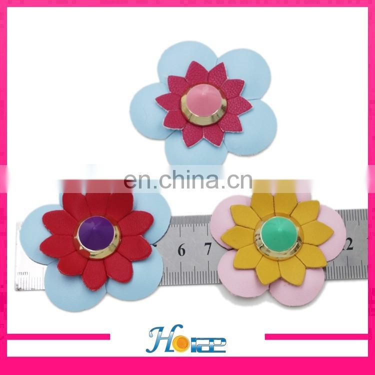 New and hotselling colorful Plastic rivets flowers PU leather flower for bag