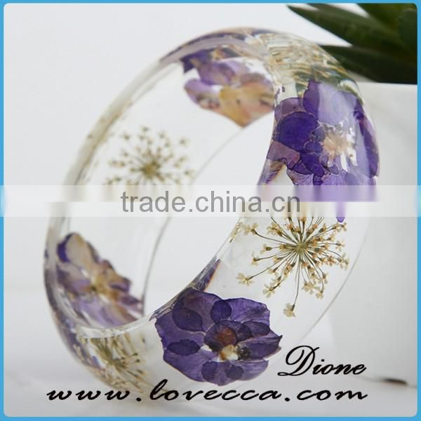 Guangzhou Factory Hot Sale Dried Flower Resin Bangles Natural Real Flower Bracelet Bangle