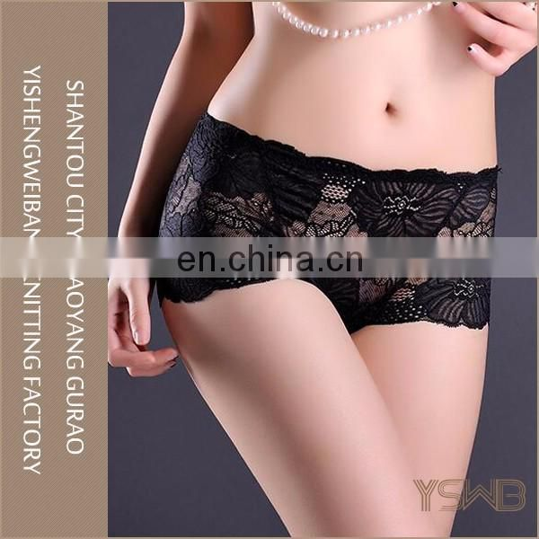 High quality eco-friendly black sexy lace cotton soft breathable girl cheap panty