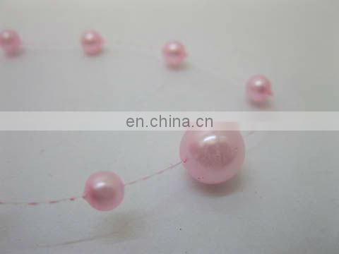 Pink Fishing Line Pearls Chain Pearl Beads Chain Garland for Wedding Decoration