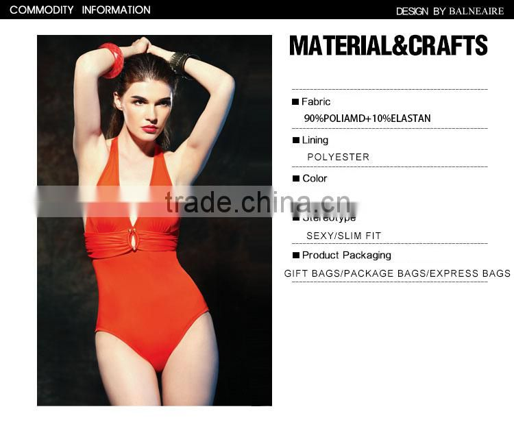 Balneaire new style women orange sexy one Piece Swimwear,wholesale plus size swimsuits