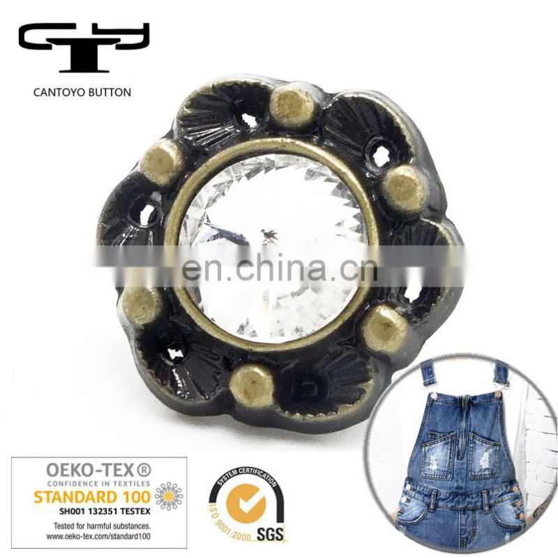 N-CTY-112 coat denim decorative crystal metal shank button