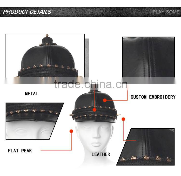 Alibaba wholesale hats suppliers china cheap custom high quality spiked stud leather hats