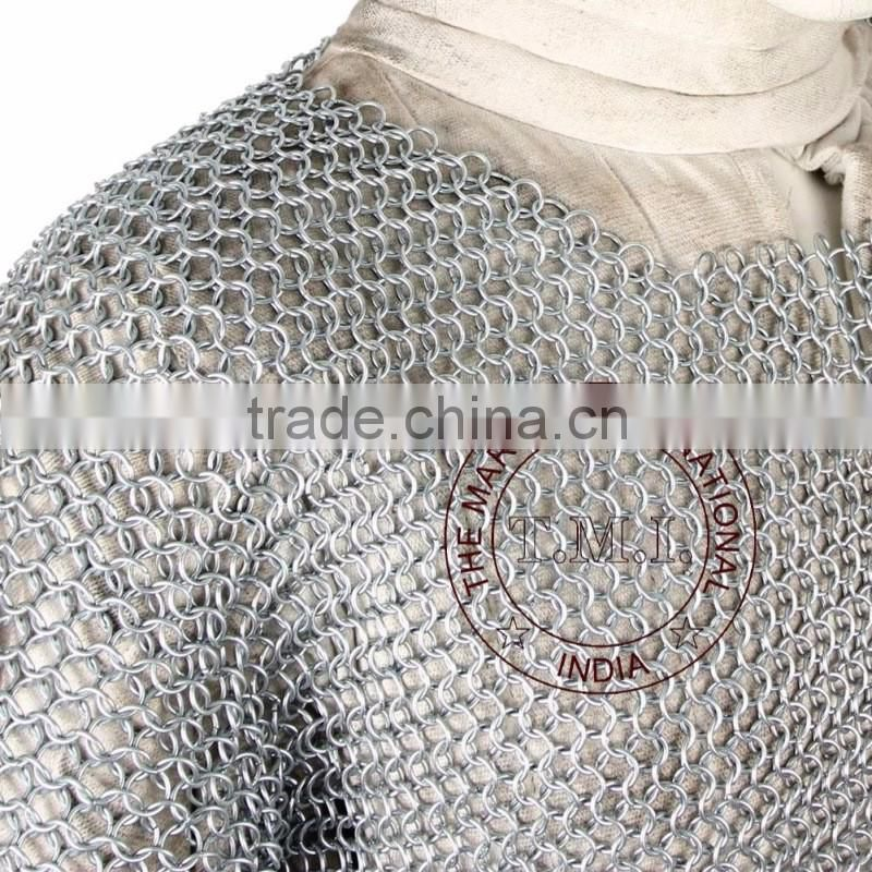 MEDIEVAL RENAISSANCE HAUBERGEON WARRIOR CHAINMAIL ARMOR LONG SHIRT