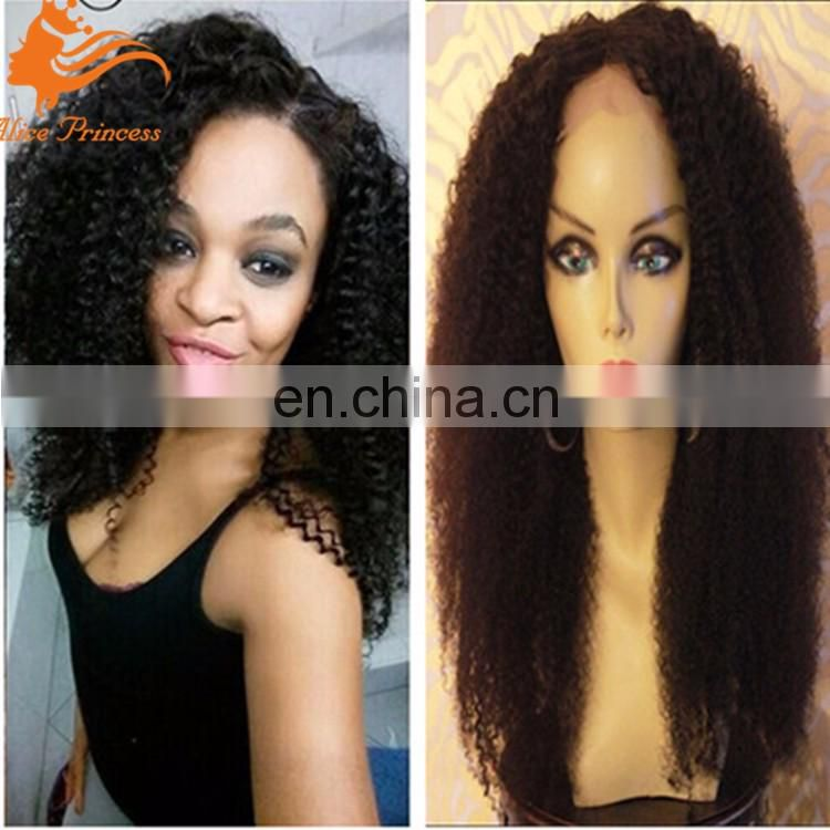 100% Virgin Human brazilian Hair Glue Less Full Lace Wig Long Afro Kinky Curly Wigs