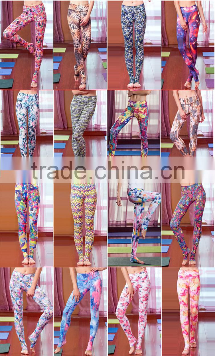 2015 top quality custom women sublimation yoga pants/ leggings wholesale