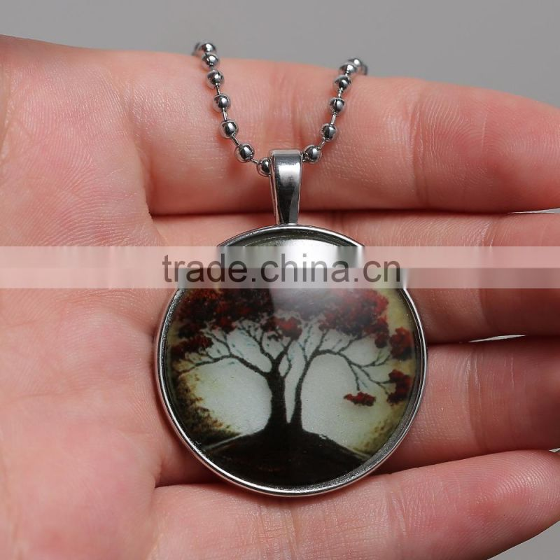 Glow in the dark Necklace Tree Necklace ,Black Tree of Life necklace Art photo Glass Glowing Jewelry Glowing Necklace