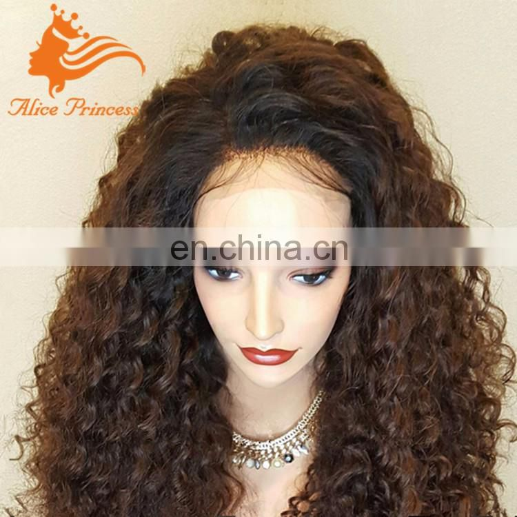 Ombre Two Tone Color Peruvian Front Lace Wig 1BT#30 Kinky Curly Braiding Human Hair Afro Wigs For Black Women
