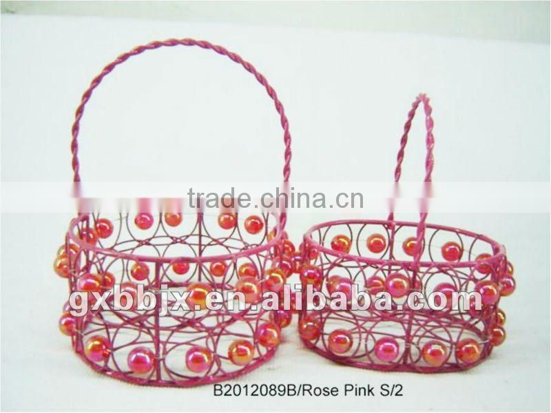 Set of Two Rose Pink Oval Iron/Plastic bead gift storage basket for holiday decoration