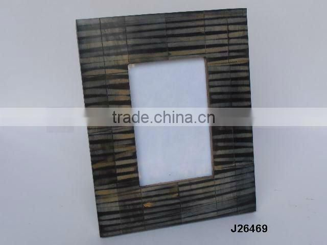 Wooden Photo frame with brass inlay repeat patterns