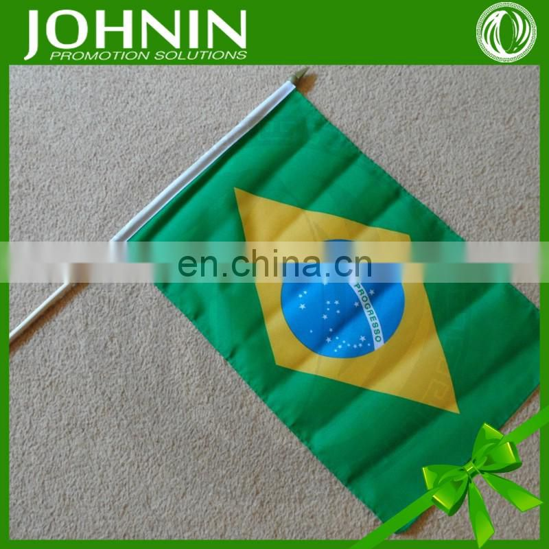wholesale polyester printed 30*45 hand brazil olympics flag for cheer