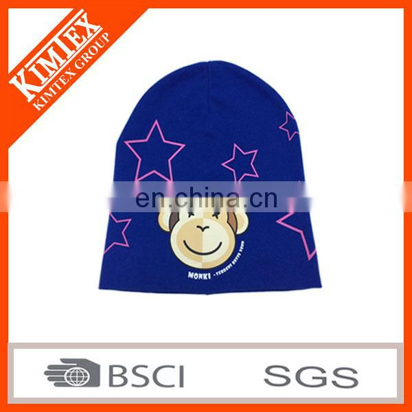 2017 Custom Fashion printed 100%cotton elastic children single jersey hat