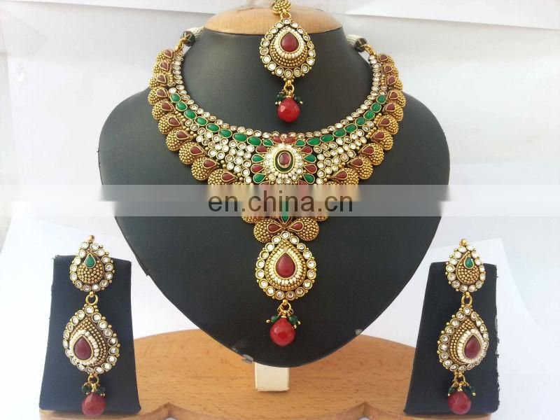 INDIAN DESIGNER POLKI BRIDAL JEWELLERY NECKLACE SET