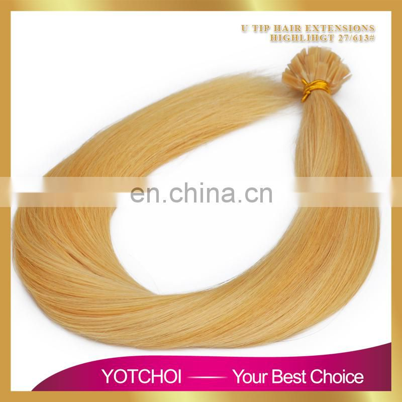 Hot Selling Last 12 Months Double Drawn Thick Bottom 8a grade virgin russian hair u tip blonde