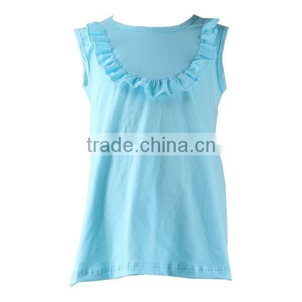 Summer kids clothes girls dress new style factory price light blue bib ruffle baby girl cotton dresses