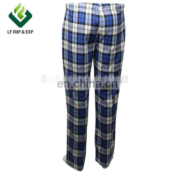Men's cotton/polyester mixed sleepwear, checked flannel pajama