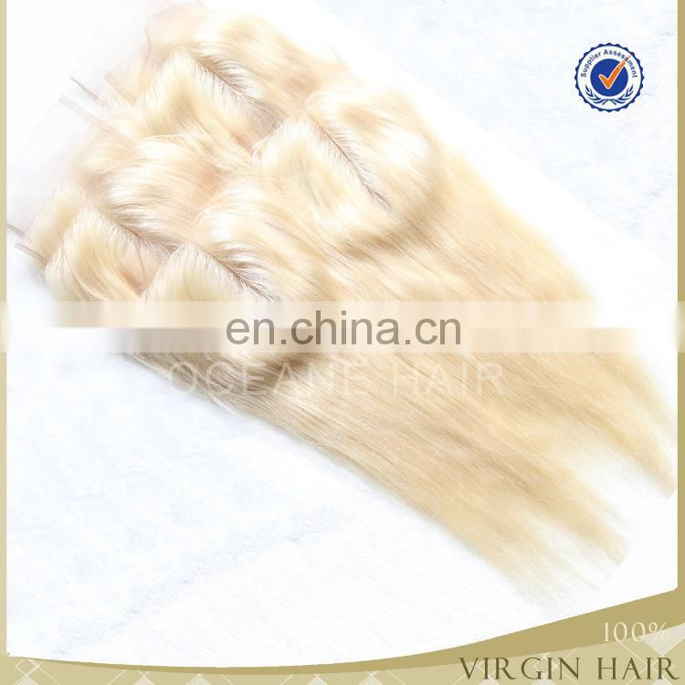 Hot sale!!!6A grade factory price wholesale unprocessed remy three part brazilian hair blonde hair closure piece
