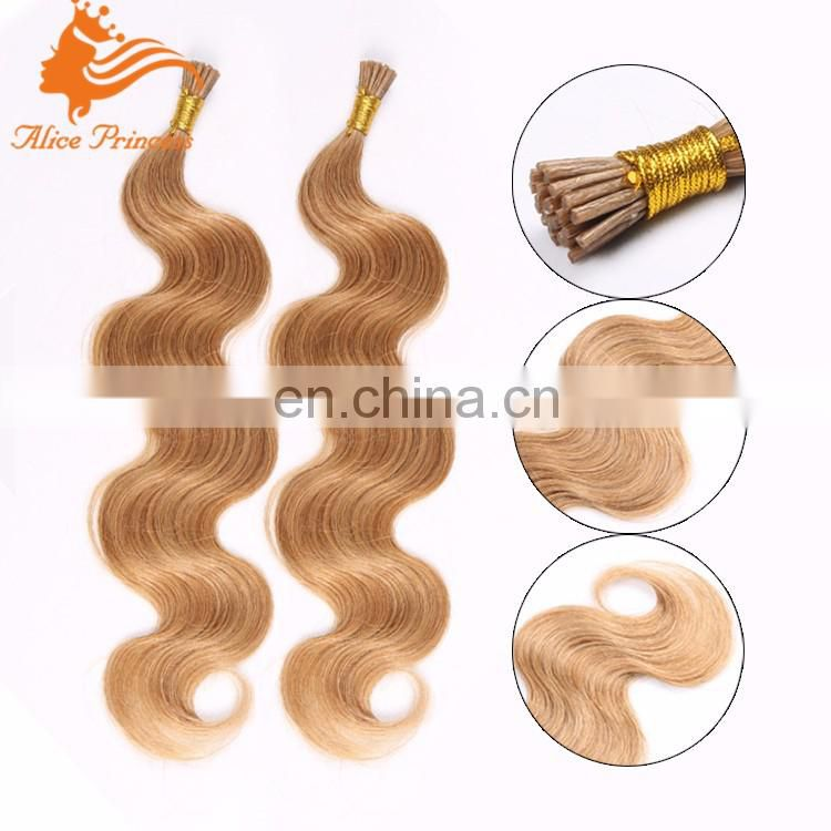 New arrival Wholesale price 16inch silk straight peruvian remy hair Italian I tip hair extension