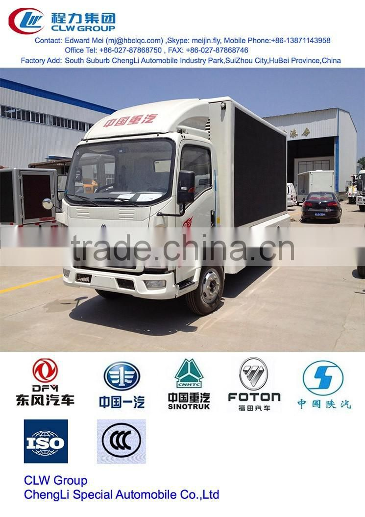 Hot sale LED screen truck,Howo 4x2 sealed garbage truck dimension of