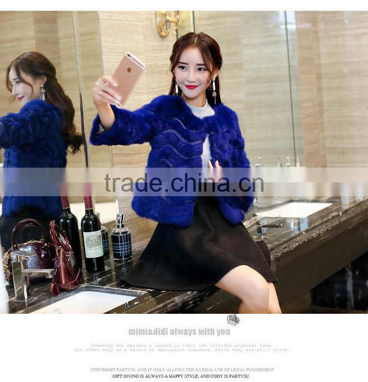 2016 New Women's Fashion Imitation real Rabbit Fur Nine Quarter Sleeve O-neck Wide Strips Short Jacket Coat