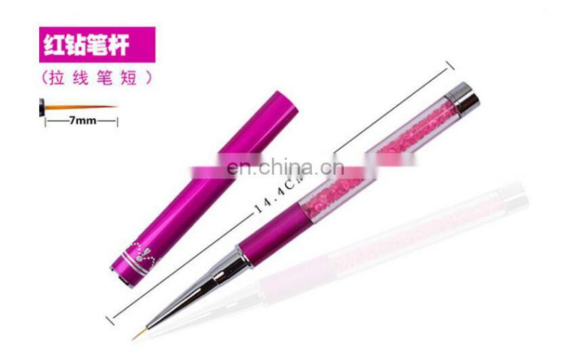 Nail Art Brush Pen Rhinestone Diamond Metal Acrylic Handle Carving Powder Gel Liquid Salon Liner Nail Brush